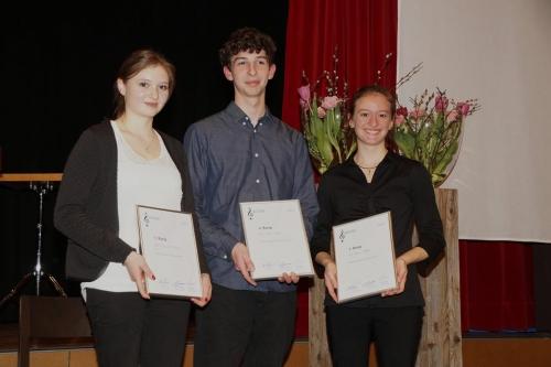 Die Gewinner - Eveline Zemp, Klarinette (3.), Sven Duss, Marimbaphon (2.), Vera Stöckli, Violoncello (1.)